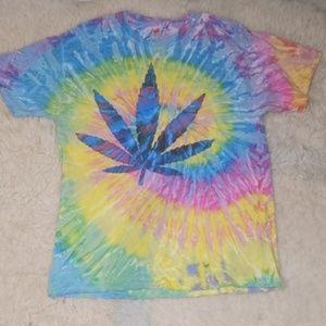 Rainbow Tie Dye Pot Cannabis Leaf Shirt Large
